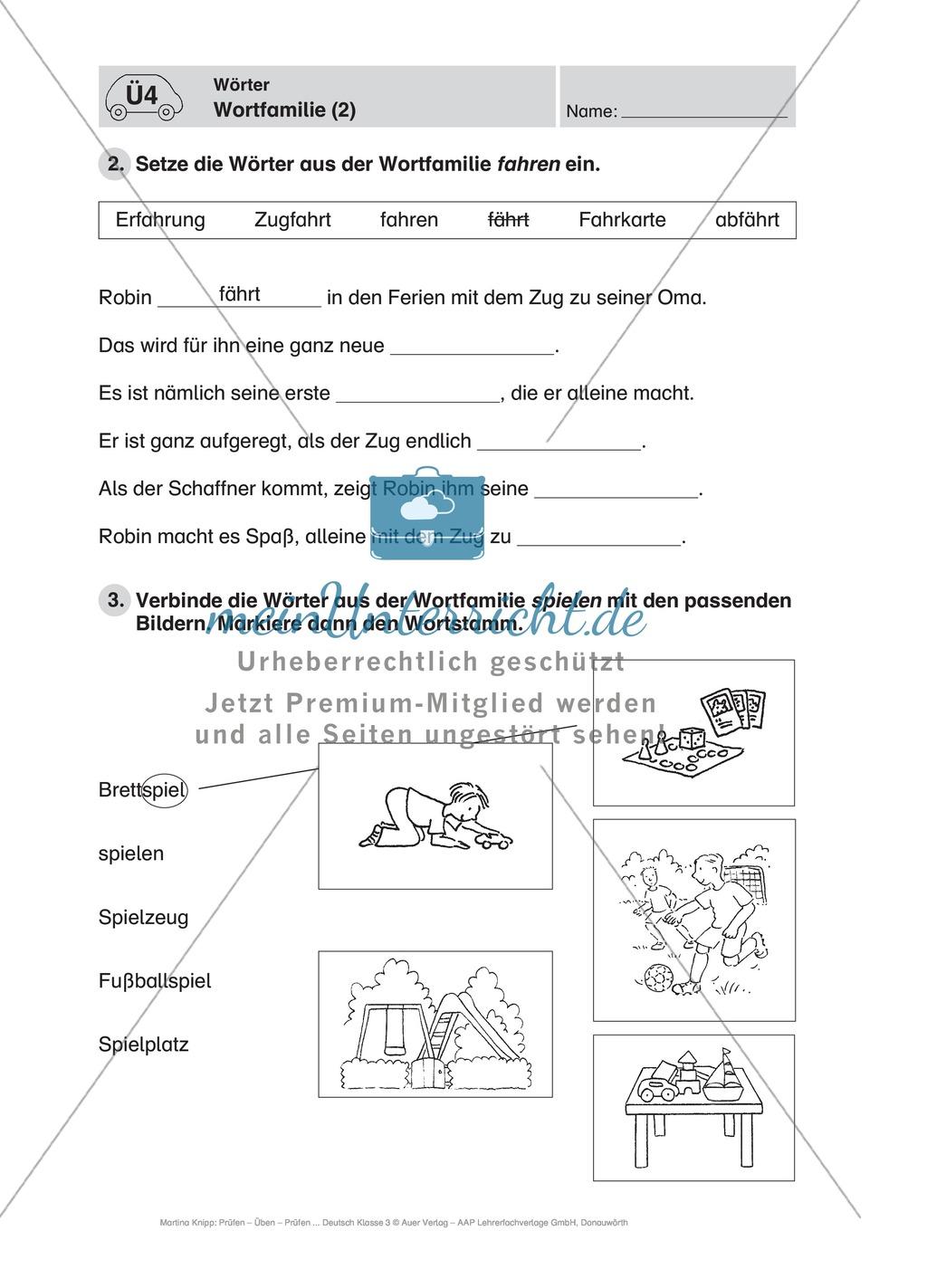 Wörter, Wortfamilie: Führerschein-Übungsaufgaben und Lösung Preview 1