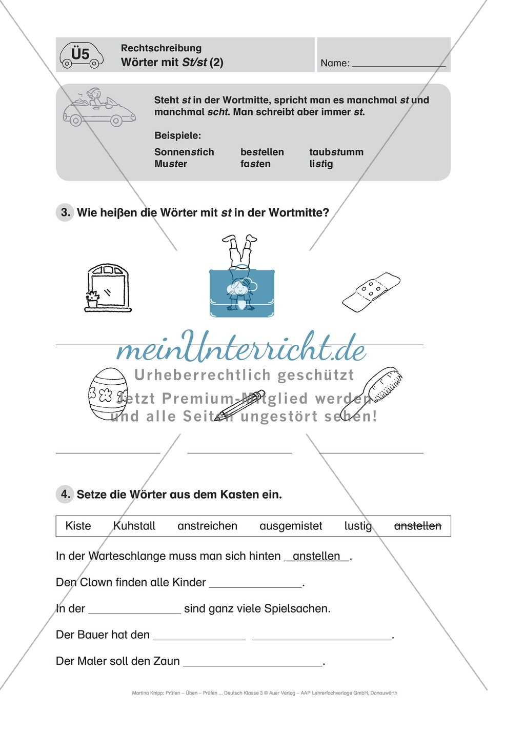 Rechtschreibung, Wörter mit St/st: Führerschein-Übungsaufgaben und Lösung Preview 1