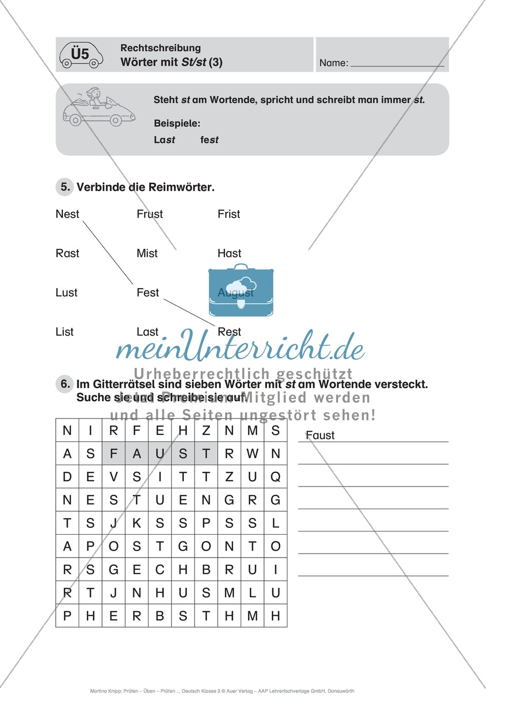 Rechtschreibung, Wörter mit St/st: Führerschein-Übungsaufgaben und Lösung Preview 2