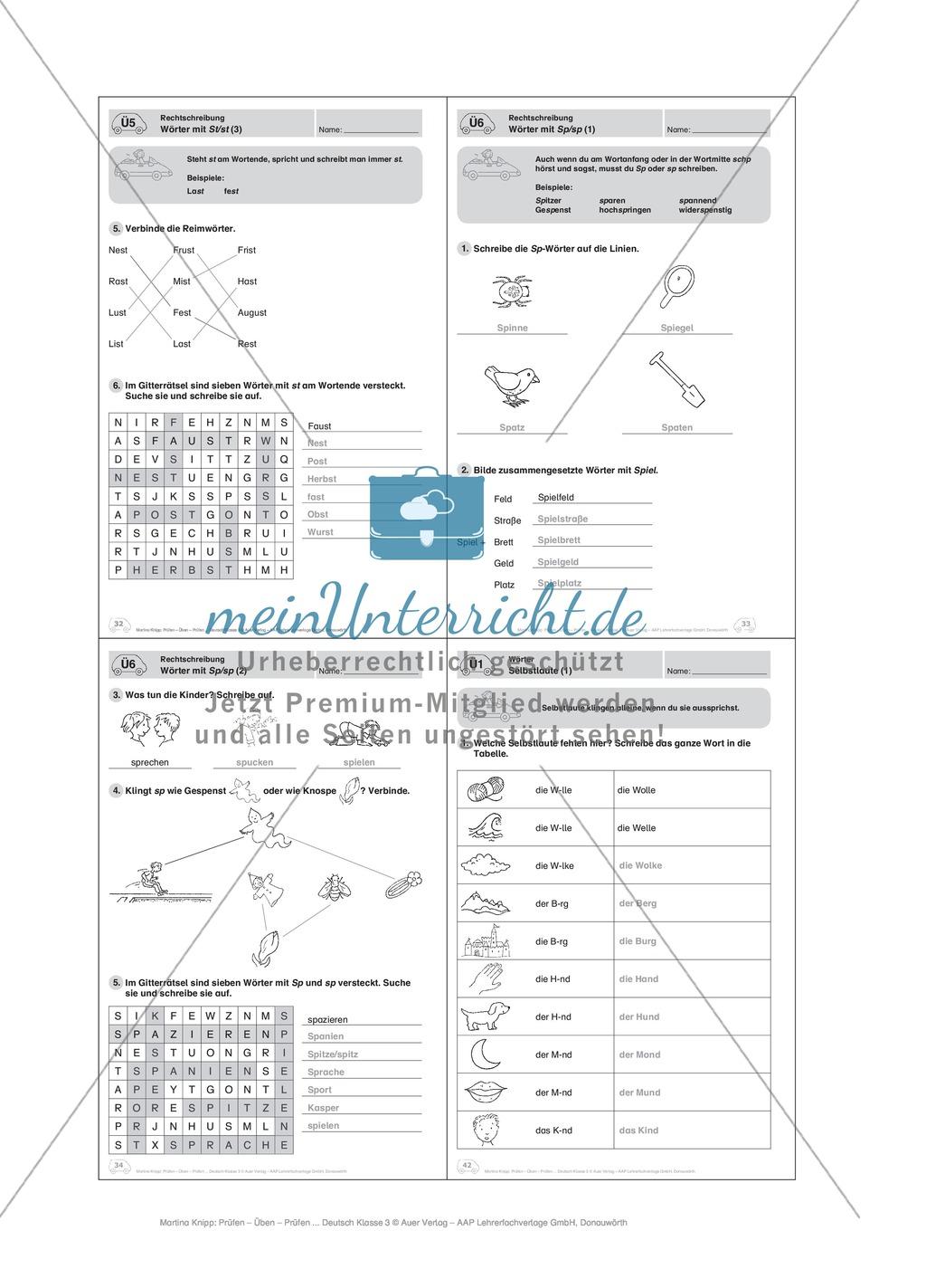 Rechtschreibung, Wörter mit St/st: Führerschein-Übungsaufgaben und Lösung Preview 3