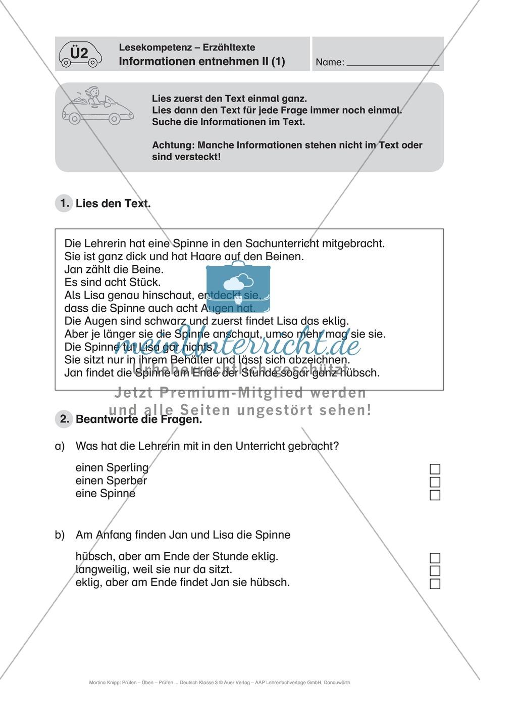 Lesekompetenz, Erzähltexten Informationen entnehmen II: Führerschein-Übungsaufgaben und Lösung Preview 0