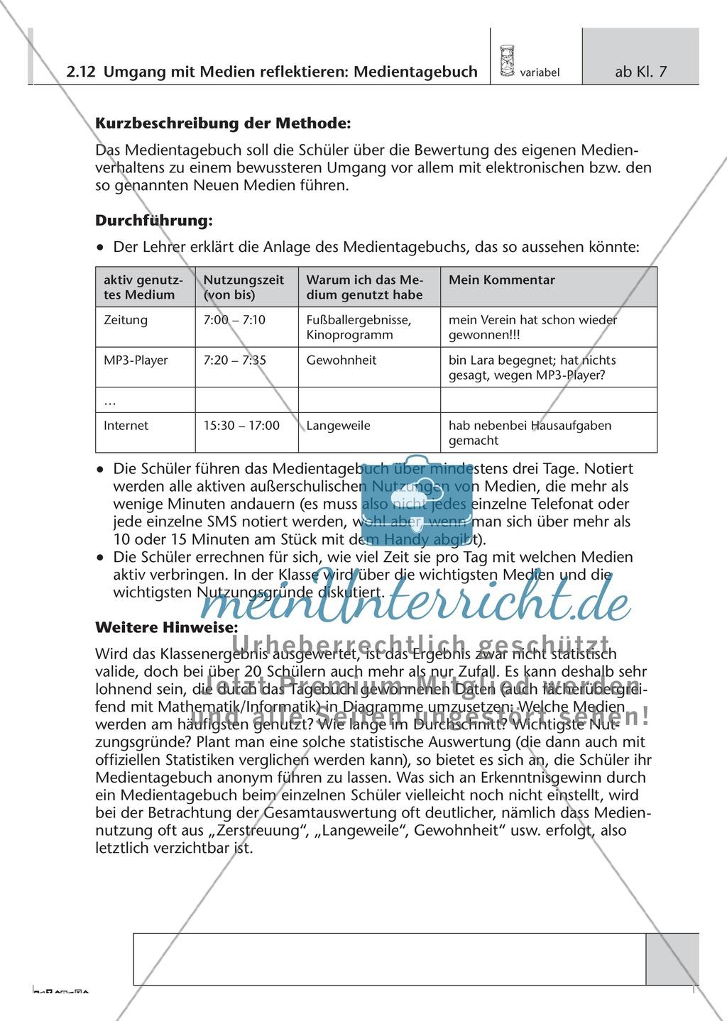 Methodik: Umgang mit Medien im Medientagebuch reflektieren Preview 0