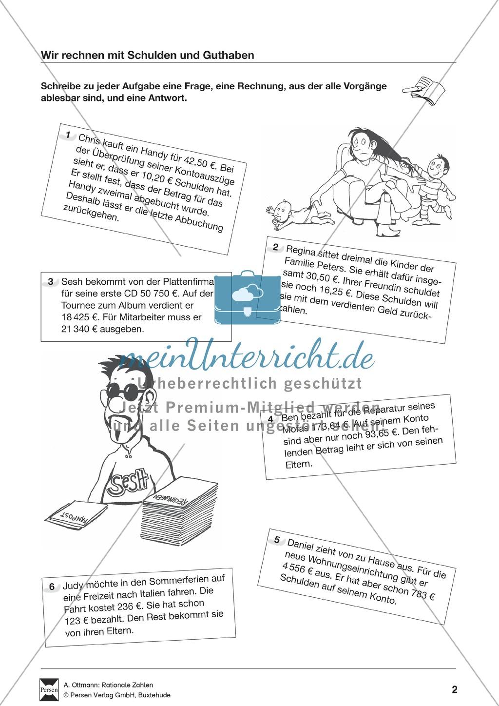 Textaufgaben zu Schulden und Guthaben: Übungen + Lösungen ...