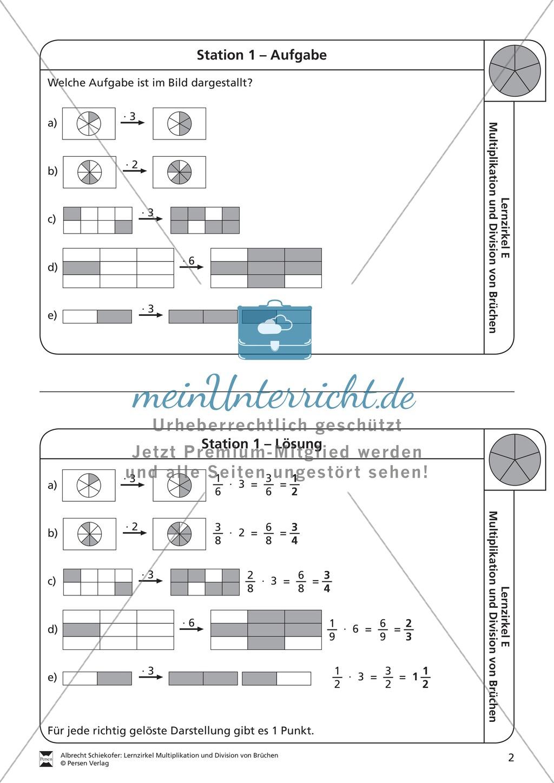 Stationsarbeit - Multiplikation und Division von Brüchen ...
