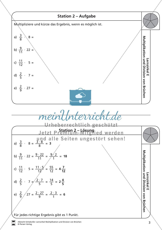 Multiplikation von Brüchen: Übungen und Lösung - meinUnterricht