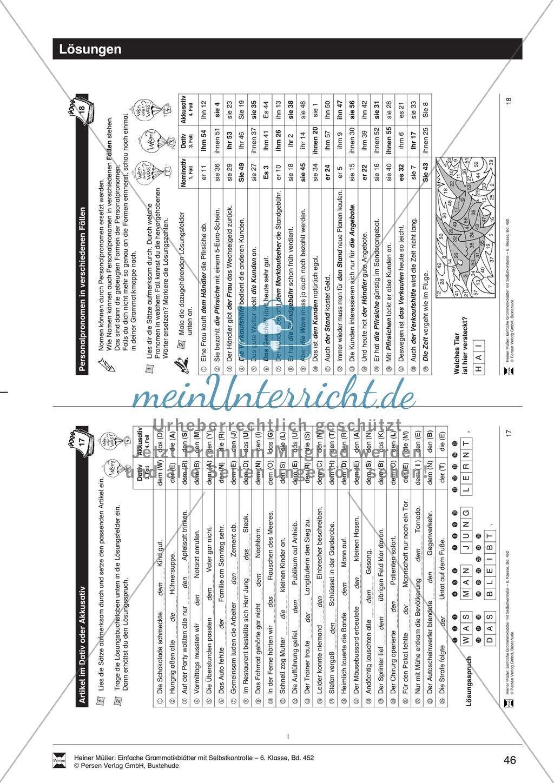 personalpronomen in verschiedenen f228llen 220bungen und