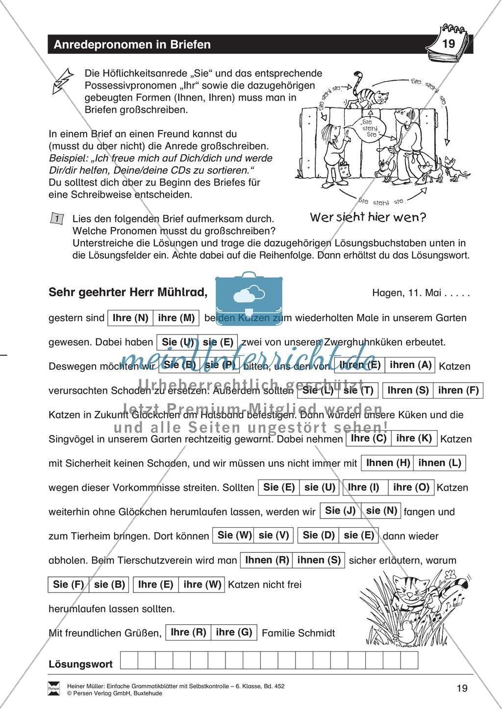 Anredepronomen in Briefen: Übungen und Lösung Preview 0