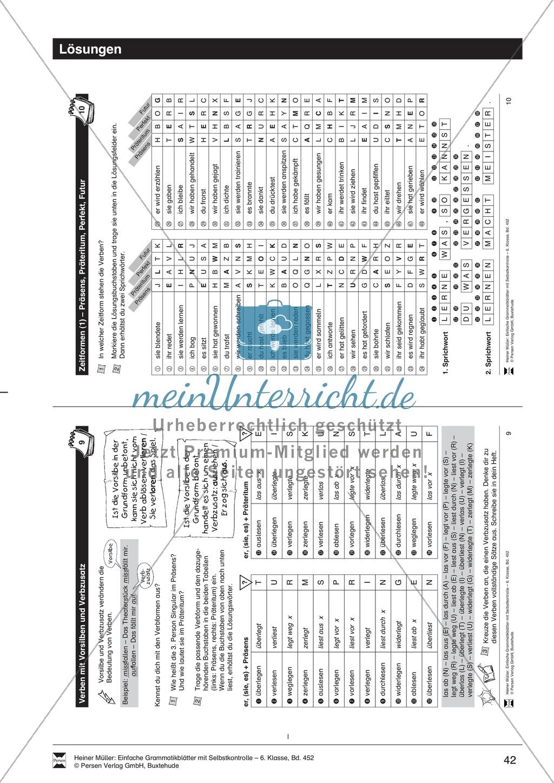 Verben mit Vorsilben und Verbzusatz, Übung + Lösung Preview 2