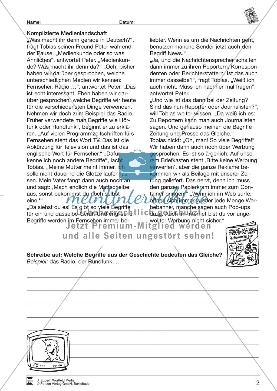 """Wortfeld """"Medien"""": Übungen und Lösung Preview 2"""