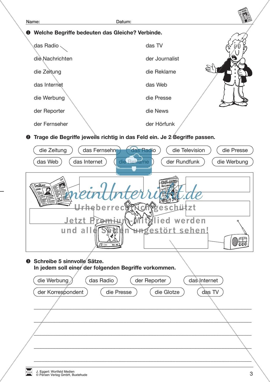 """Wortfeld """"Medien"""": Übungen und Lösung Preview 3"""