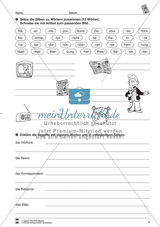 """Wortfeld """"Medien"""": Übungen und Lösung Preview 4"""