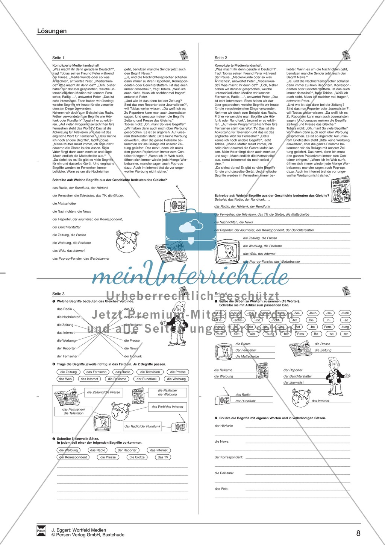 """Wortfeld """"Medien"""": Übungen und Lösung Preview 8"""