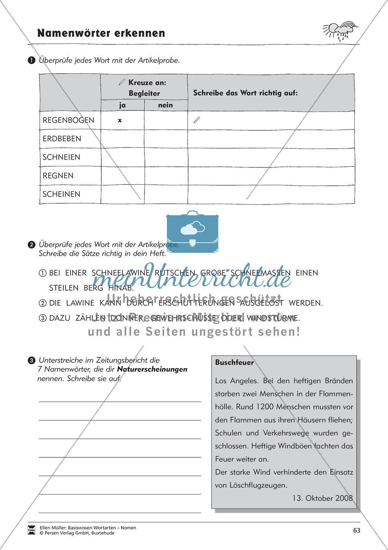 Namenwörter erkennen: Naturerscheinungen: Arbeitsblätter Preview 3