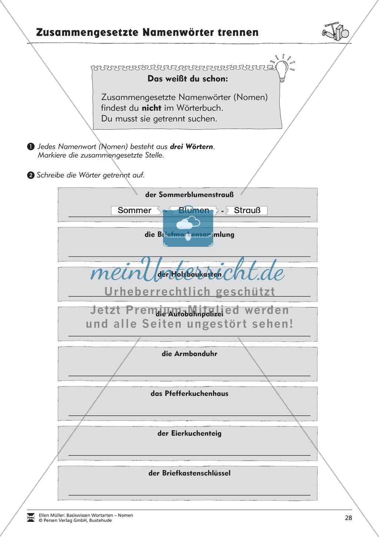 Namenwörter zusammensetzen: Arbeitsblätter Preview 12