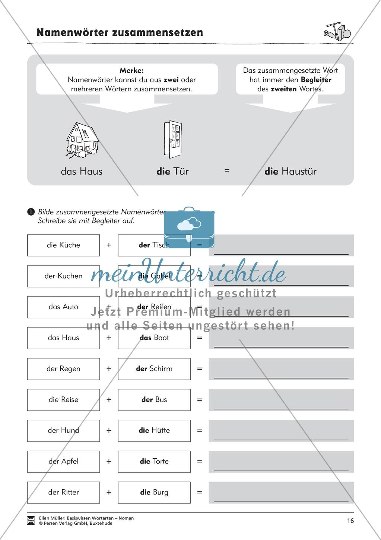 Namenwörter zusammensetzen: Arbeitsblätter - meinUnterricht