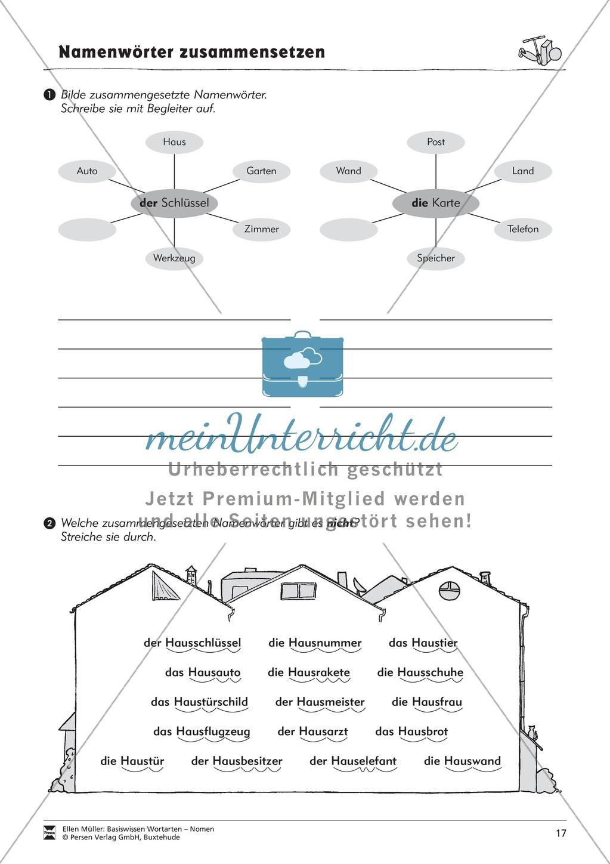 Namenwörter zusammensetzen: Arbeitsblätter Preview 1