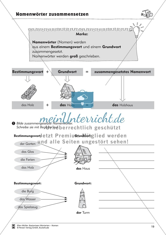 Namenwörter zusammensetzen: Arbeitsblätter Preview 3