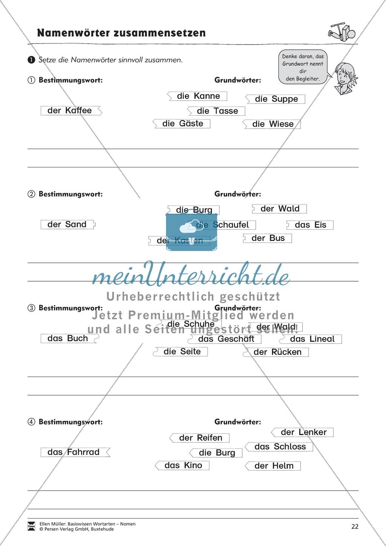 Namenwörter zusammensetzen: Arbeitsblätter Preview 6