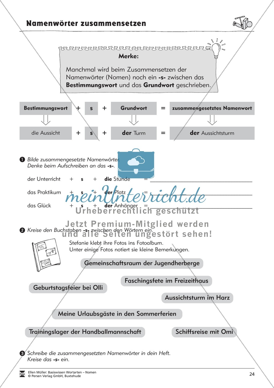 Namenwörter zusammensetzen: Arbeitsblätter Preview 8
