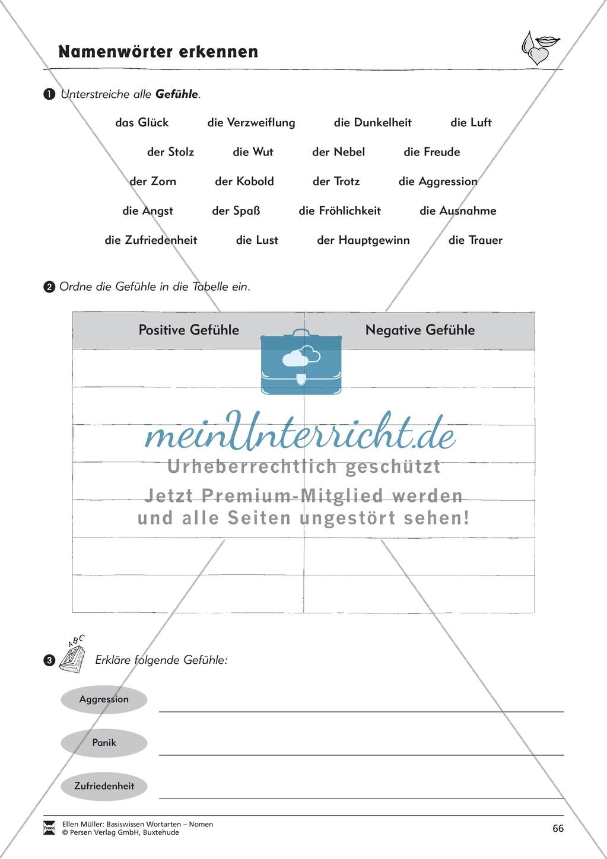Namenwörter erkennen: Gefühle und Begriffe: Arbeitsblätter und Test Preview 1