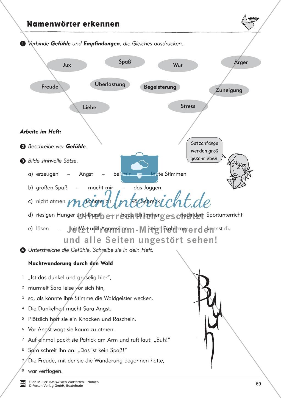 Namenwörter erkennen: Gefühle und Begriffe: Arbeitsblätter und Test Preview 4
