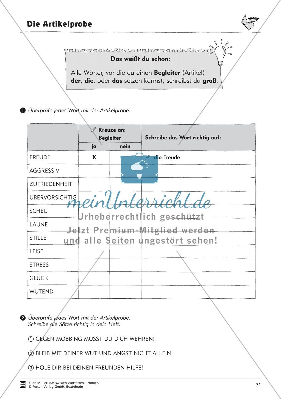 Namenwörter erkennen: Gefühle und Begriffe: Arbeitsblätter und Test Preview 6