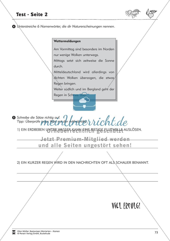 Namenwörter erkennen: Gefühle und Begriffe: Arbeitsblätter und Test Preview 8