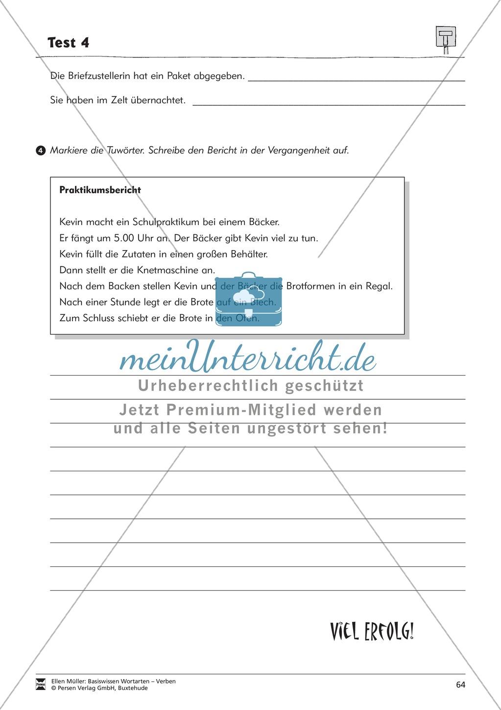 Tuwörter in der Vergangenheit: Arbeitsblätter, Rätsel und Test Preview 11