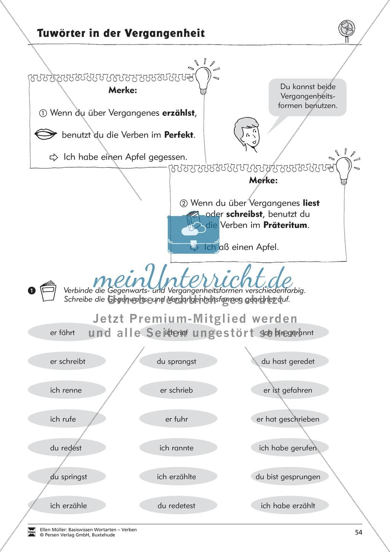 Tuwörter in der Vergangenheit: Arbeitsblätter, Rätsel und Test Preview 1