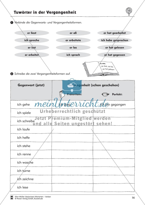 Tuwörter in der Vergangenheit: Arbeitsblätter, Rätsel und Test Preview 3