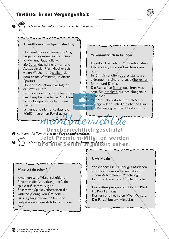 Tuwörter in der Vergangenheit: Arbeitsblätter, Rätsel und Test ...