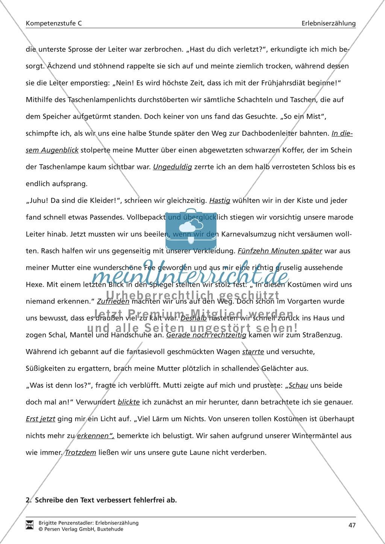 Satzanfänge in einer Erlebniserzählung korrigieren: Übung und Lösung (hohes Niveau) Preview 3