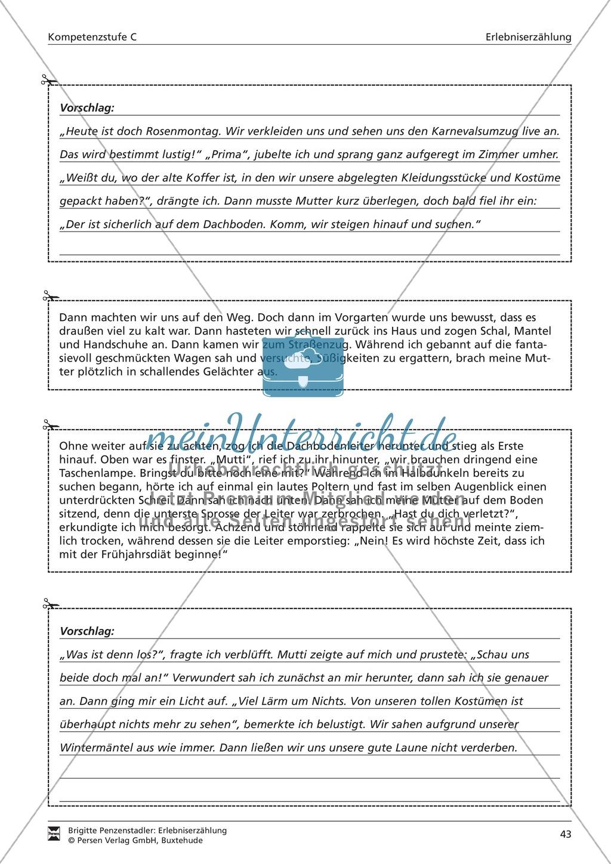 Eine Erlebniserzählung schreiben: Vom Wortfeld bis zur Erzählung (hohes Niveau) Preview 5