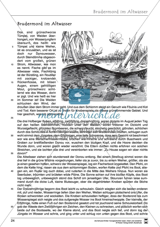 """Kurzgeschichte """"Brudermord im Altwasser"""": Text, Aufgaben, Lösung Preview 1"""