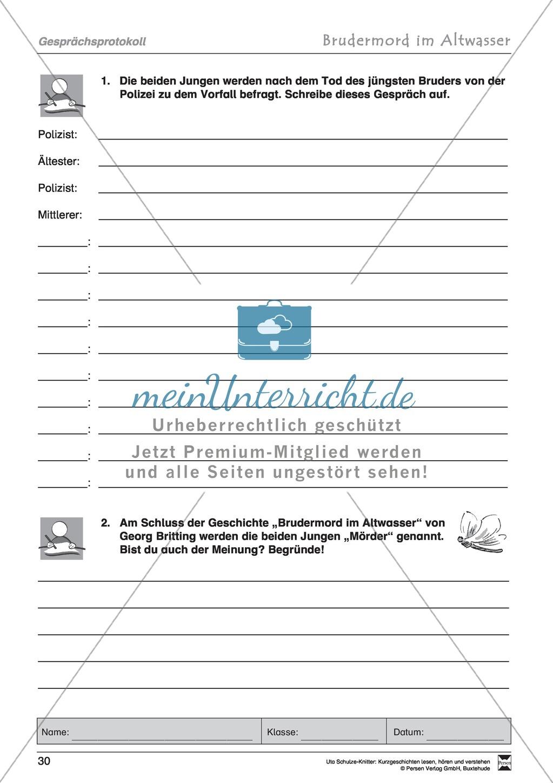 """Kurzgeschichte """"Brudermord im Altwasser"""": Text, Aufgaben, Lösung Preview 7"""