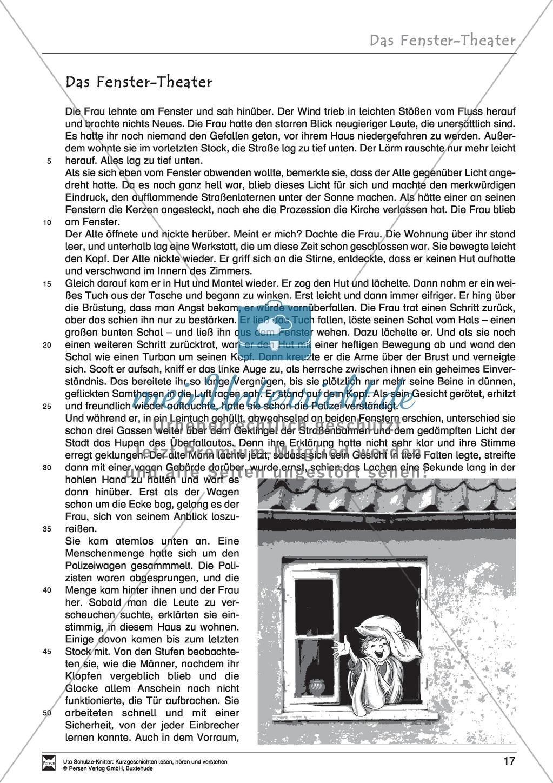 Arbeitsblatt Interpretation Kurzgeschichte : Kurzgeschichte quot das fenster theater meinunterricht