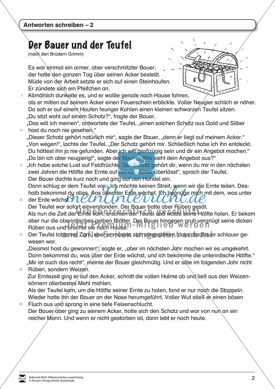 """Lesetraining, Thema """"Der Bauer und der Teufel"""": Text + Übungen mit Lösungen, Antworten schreiben Preview 1"""