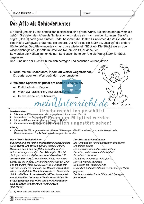 """Lesetraining, Thema """"Der Affe als Schiedsrichter"""": Text + Übungen mit Lösungen, Texte kürzen Preview 1"""