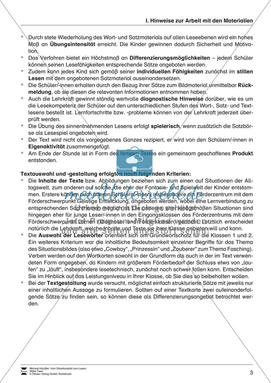 Leseförderung Wilde Tiere: Arbeitshinweise, Unterrichtsmodell, Bilder, Arbeitsblätter, Lesespiel und Kontrollblatt Preview 2