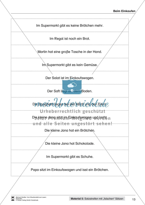 Leseförderung Einkaufen: Arbeitshinweise, Unterrichtsmodell, Bilder, Arbeitsblätter, Lesespiel und Kontrollblatt Preview 12