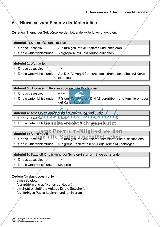 Leseförderung Einkaufen: Arbeitshinweise, Unterrichtsmodell, Bilder, Arbeitsblätter, Lesespiel und Kontrollblatt Preview 6