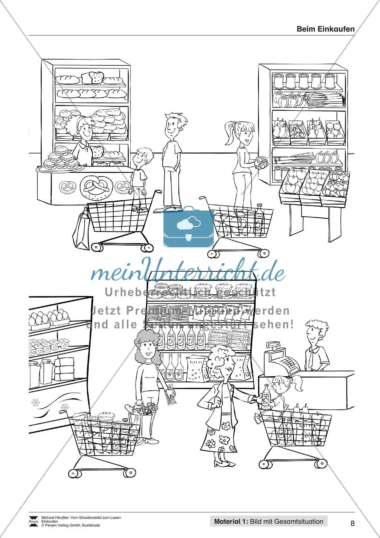 Leseförderung Einkaufen: Arbeitshinweise, Unterrichtsmodell, Bilder, Arbeitsblätter, Lesespiel und Kontrollblatt Preview 7