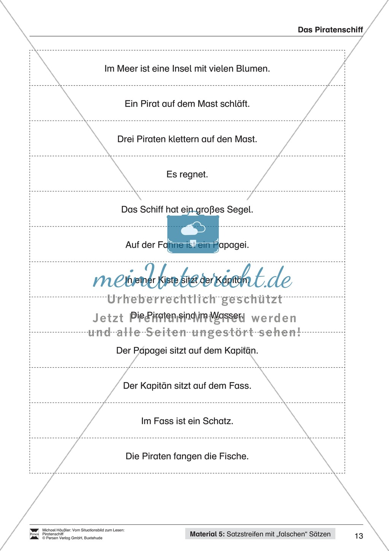 Leseförderung Piratenschiff: Unterrichtsmodell, Bilder, Arbeitsblätter, Lesespiel und Kontrollblatt Preview 9