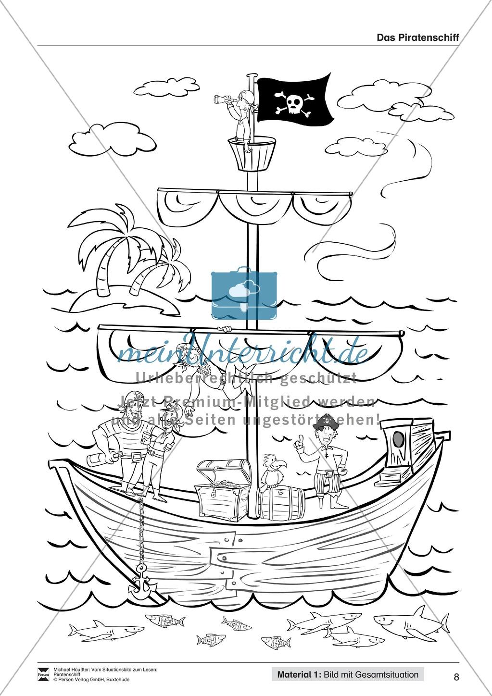 Leseförderung Piratenschiff: Unterrichtsmodell, Bilder, Arbeitsblätter, Lesespiel und Kontrollblatt Preview 4