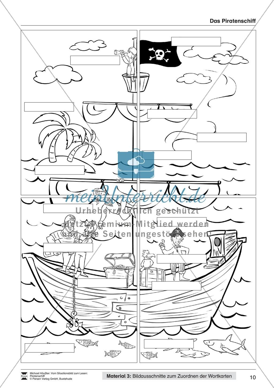 Leseförderung Piratenschiff: Unterrichtsmodell, Bilder, Arbeitsblätter, Lesespiel und Kontrollblatt Preview 6