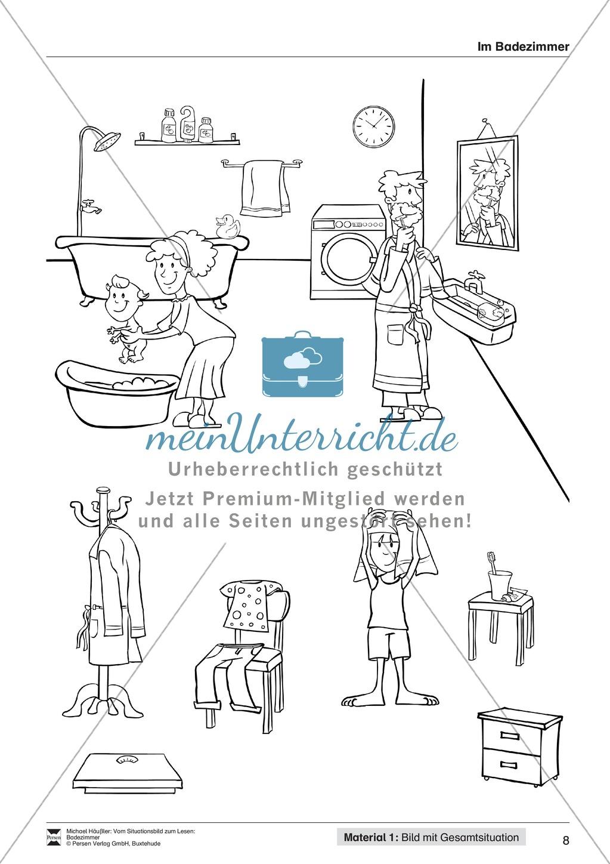 Leseförderung Badezimmer: Unterrichtsmodell, Bilder, Arbeitsblätter, Lesespiel und Kontrollblatt Preview 4