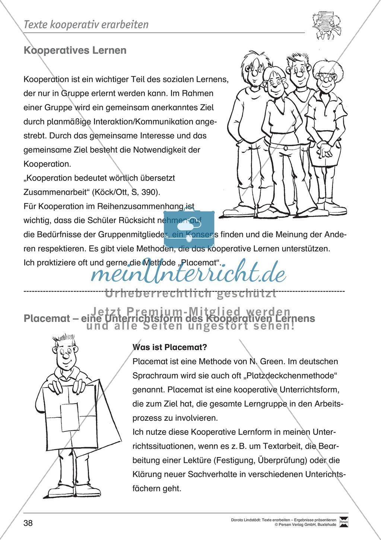 Kooperatives Lernen: Merkblatt, Placemat als Arbeitsmethode, Arbeitsmaterialien und Unterrichtsbeispiel Preview 1