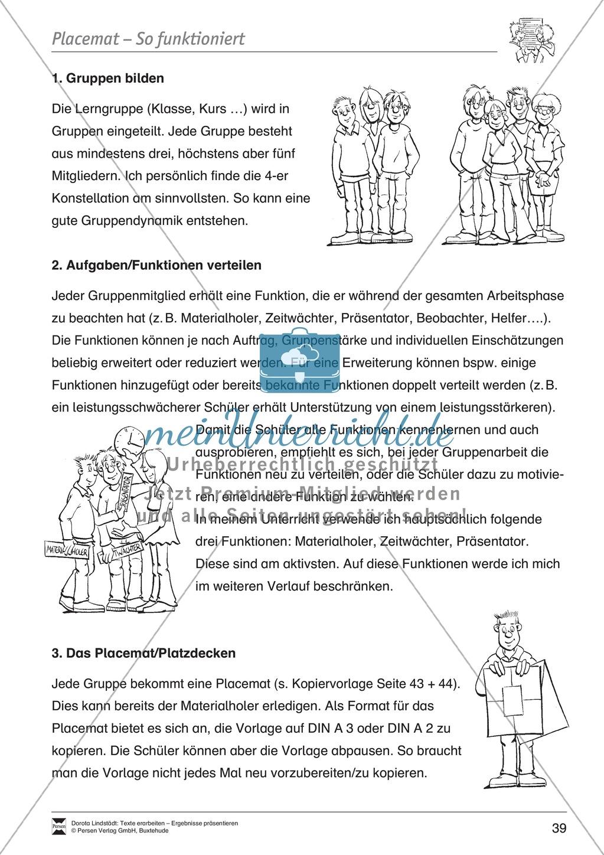 Kooperatives Lernen: Merkblatt, Placemat als Arbeitsmethode, Arbeitsmaterialien und Unterrichtsbeispiel Preview 2