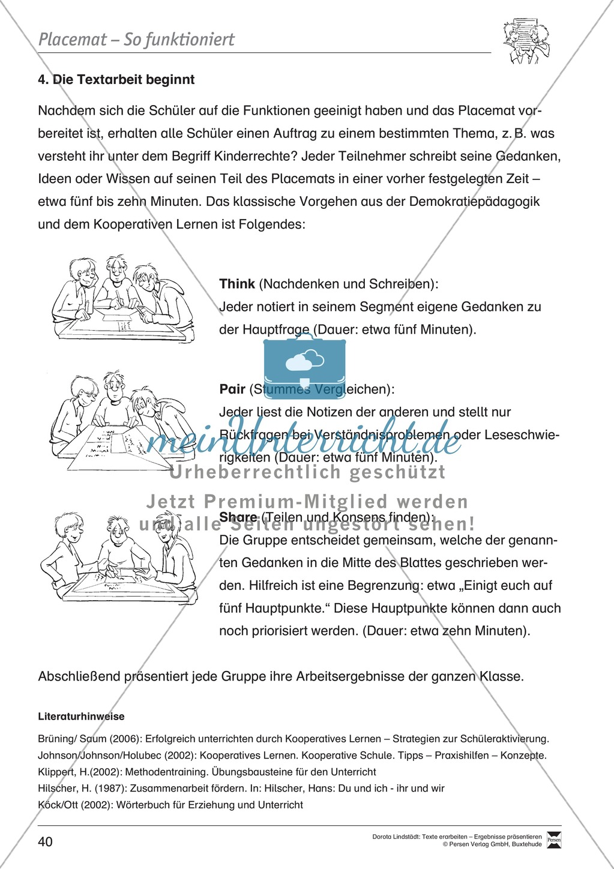 Kooperatives Lernen: Merkblatt, Placemat als Arbeitsmethode, Arbeitsmaterialien und Unterrichtsbeispiel Preview 3