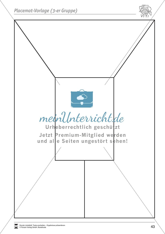 Kooperatives Lernen: Merkblatt, Placemat als Arbeitsmethode, Arbeitsmaterialien und Unterrichtsbeispiel Preview 6